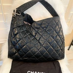 Chanel black quilted nylon shoulder hobo bag